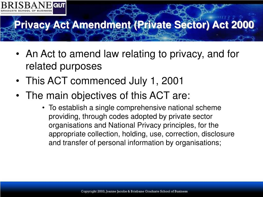 Privacy Act Amendment (Private Sector) Act 2000