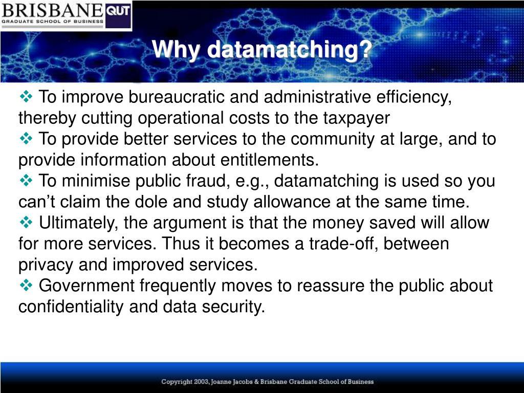 Why datamatching?