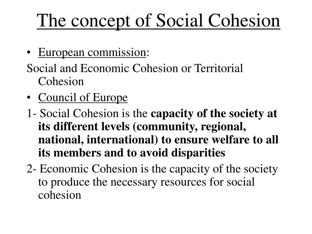 The concept of Social Cohesion