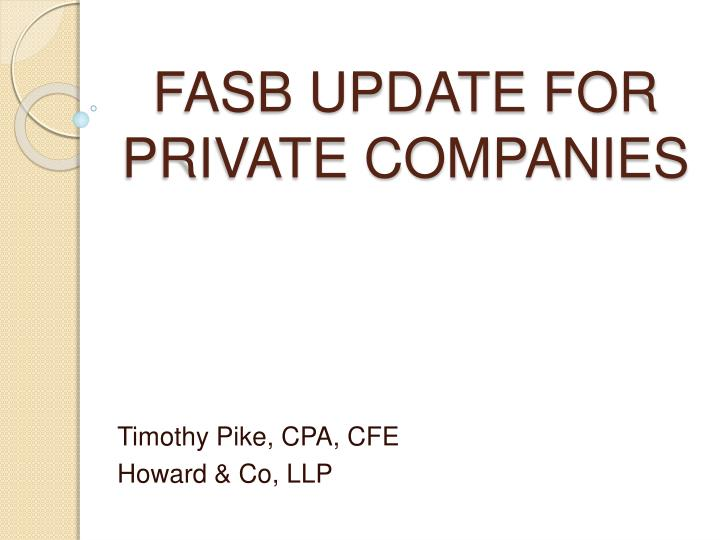 fasb update for private companies n.