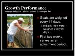 growth performance average daily gain adg pounds grams per day