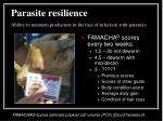parasite resilience ability to maintain production in the face of infection with parasites