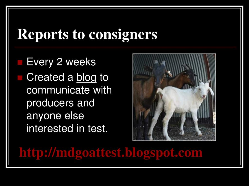 Reports to consigners