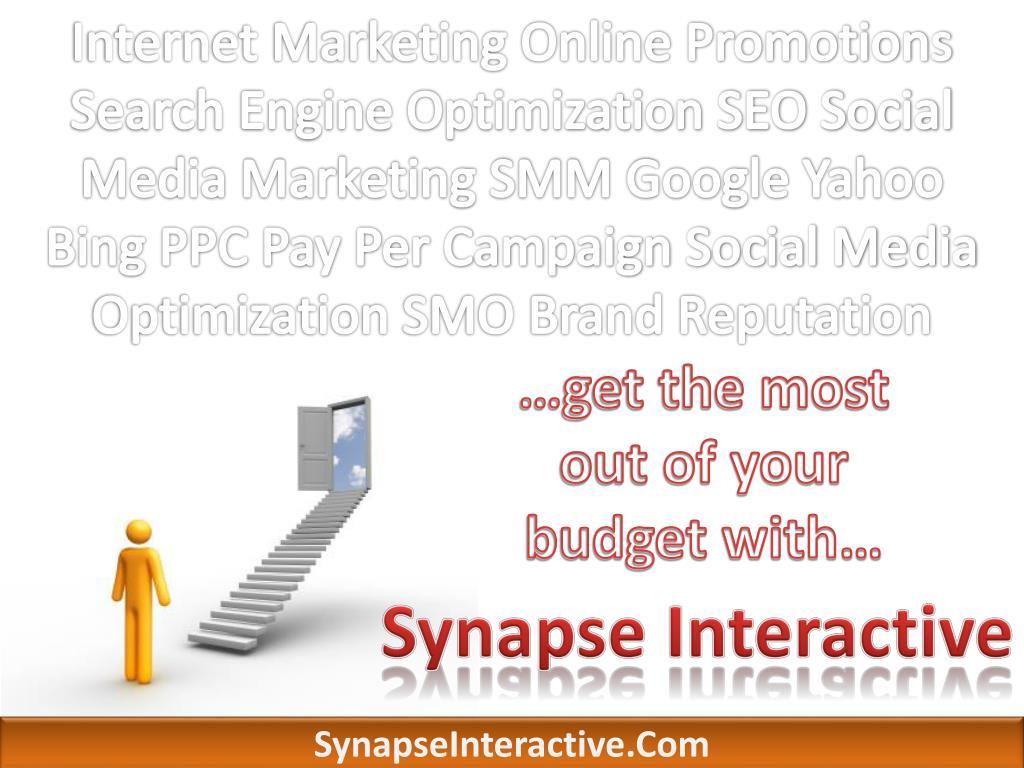 Internet Marketing Online Promotions Search Engine Optimization SEO Social Media Marketing SMM Google Yahoo Bing PPC Pay Per Campaign Social Media Optimization SMO Brand Reputation