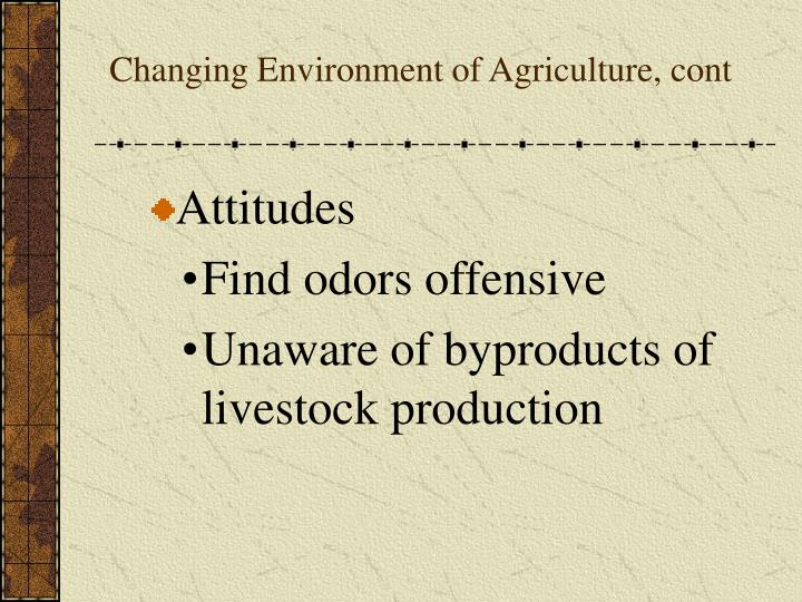 Changing Environment of Agriculture, cont