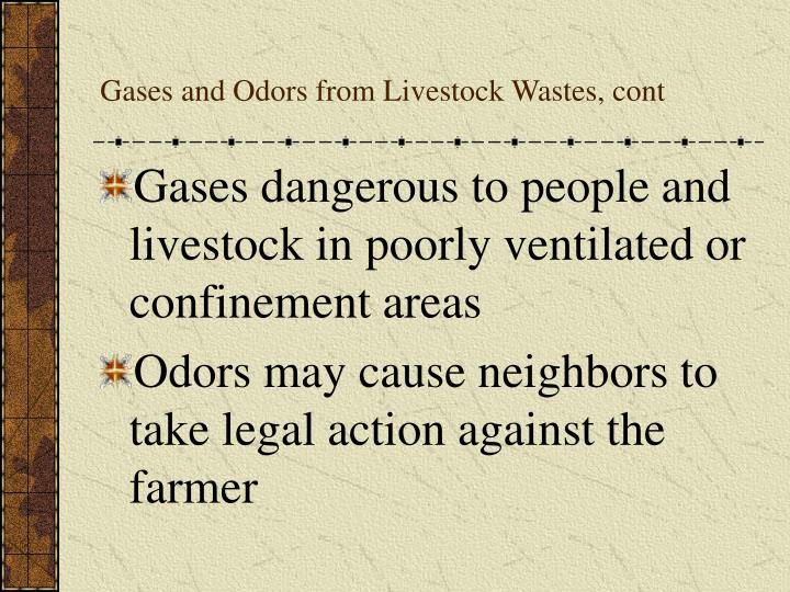 Gases and Odors from Livestock Wastes, cont