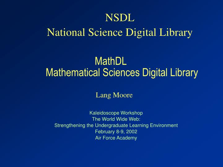 mathdl mathematical sciences digital library n.