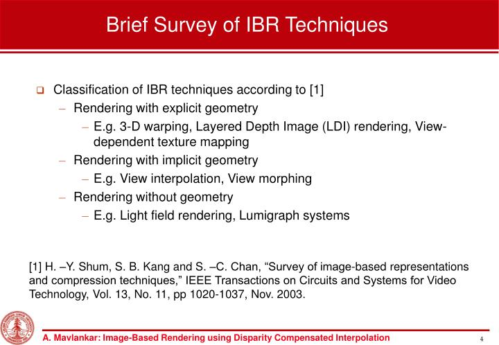 Brief Survey of IBR Techniques