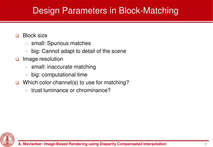Design Parameters in Block-Matching