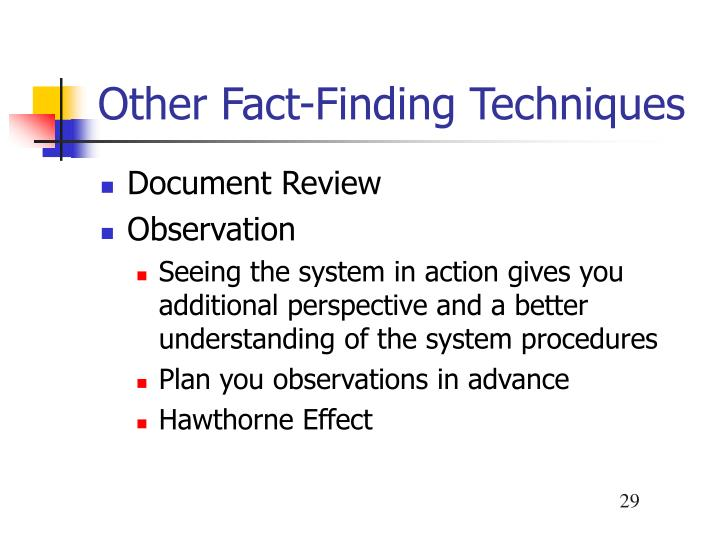 fact finding techniques observation