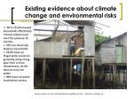 existing evidence about climate change and environmental risks