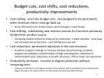 budget cuts cost shifts cost reductions productivity improvements