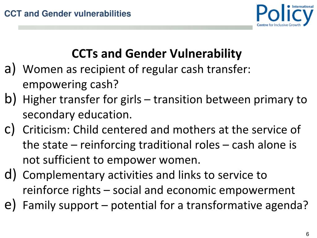 CCTs and Gender Vulnerability