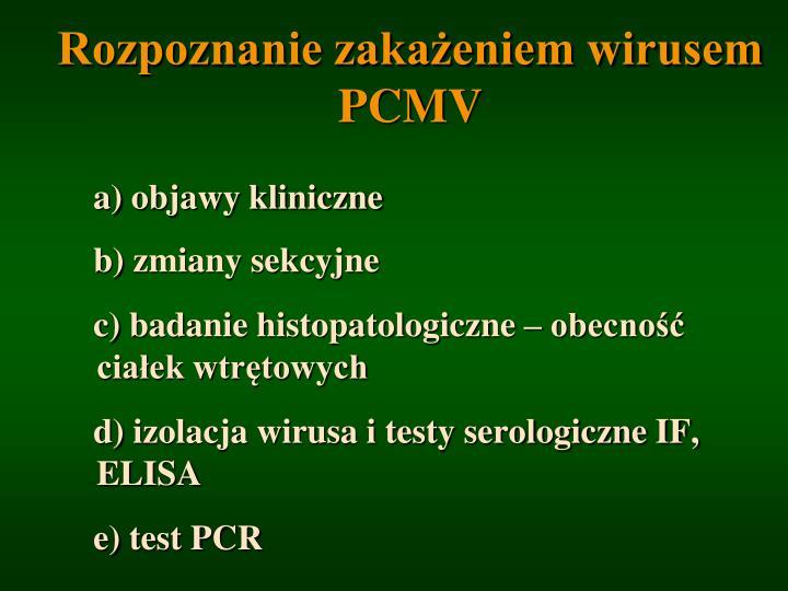 Rozpoznanie zakażeniem wirusem PCMV