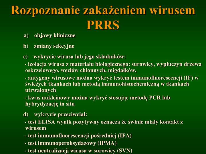 Rozpoznanie zakażeniem wirusem PRRS