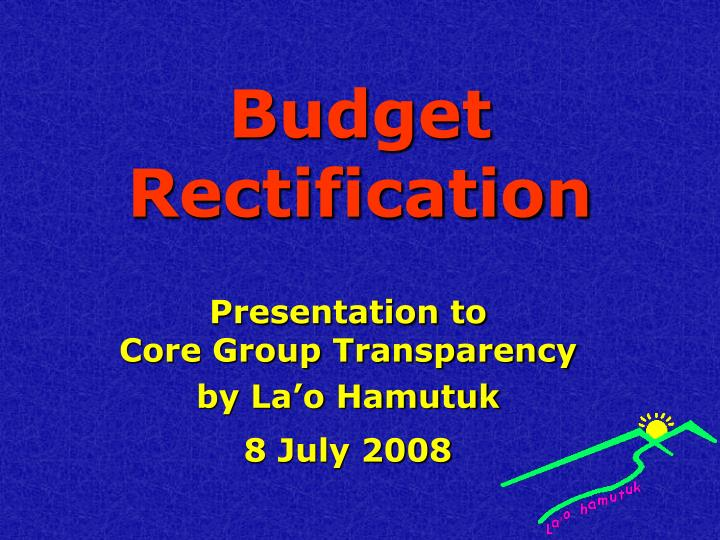 budget rectification n.