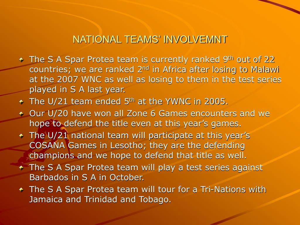 NATIONAL TEAMS' INVOLVEMNT