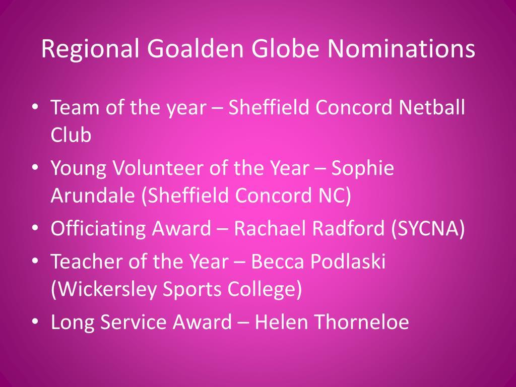 Regional Goalden Globe Nominations