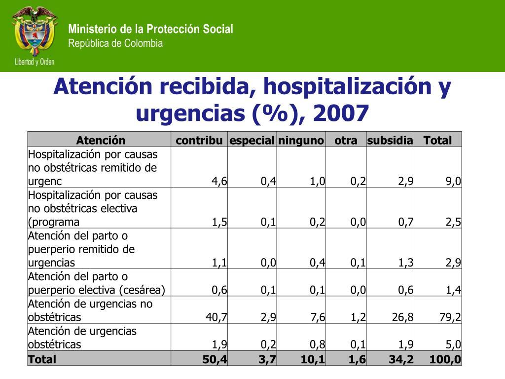 Atención recibida, hospitalización y urgencias (%), 2007