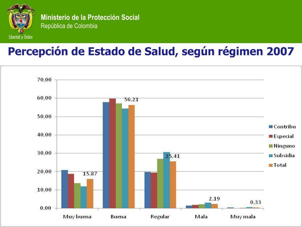 Percepción de Estado de Salud, según régimen 2007