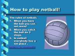how to play netball