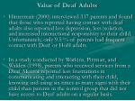 value of deaf adults