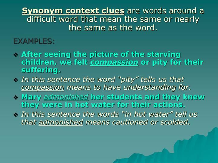 Synonym context clues