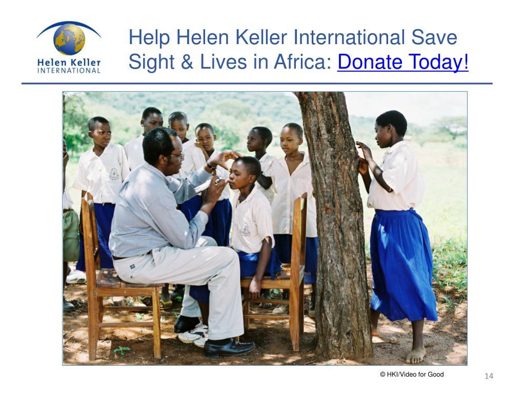 Help Helen Keller International Save Sight & Lives in Africa: