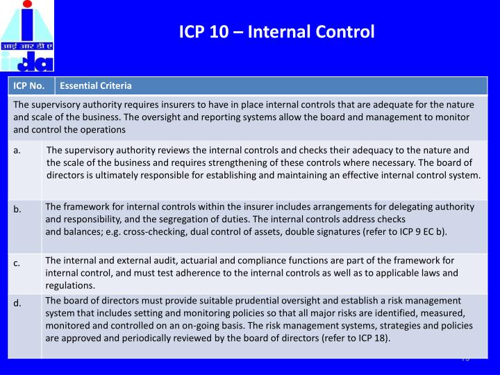 ICP 10 – Internal Control