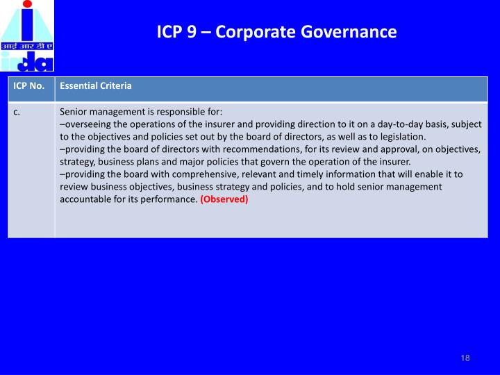 ICP 9 – Corporate Governance