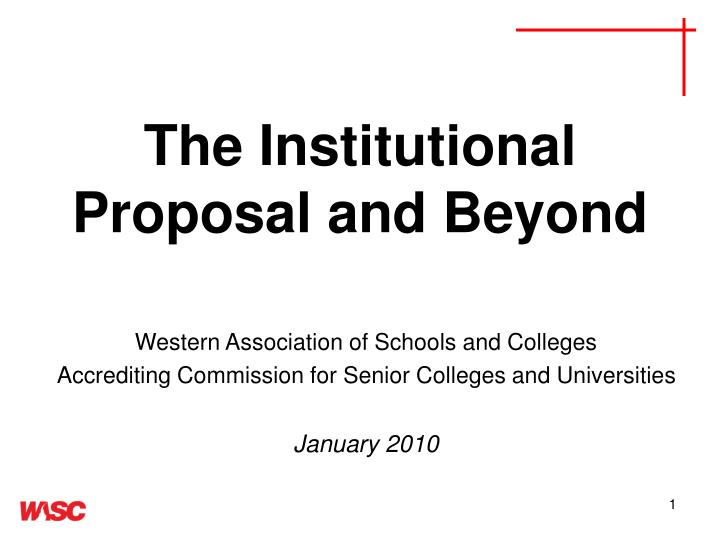 the institutional proposal and beyond n.