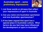 australian sport some preliminary impressions