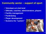 community sector support of sport