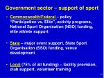 government sector support of sport