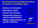 key themes surrounding the history of women in australian sport