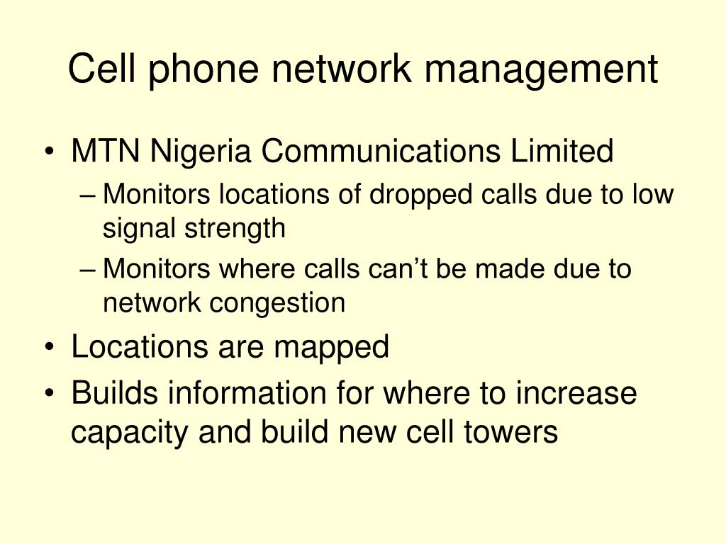 Cell phone network management