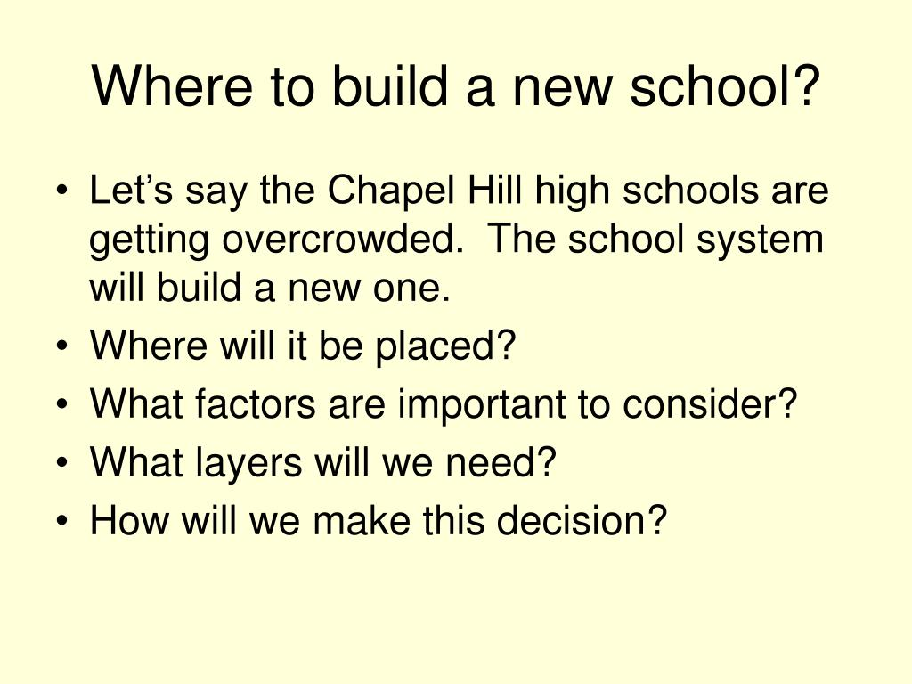 Where to build a new school?