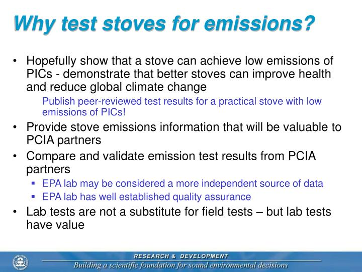 Why test stoves for emissions?