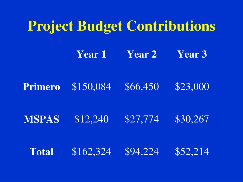Project Budget Contributions