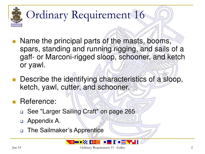Ordinary requirement 16