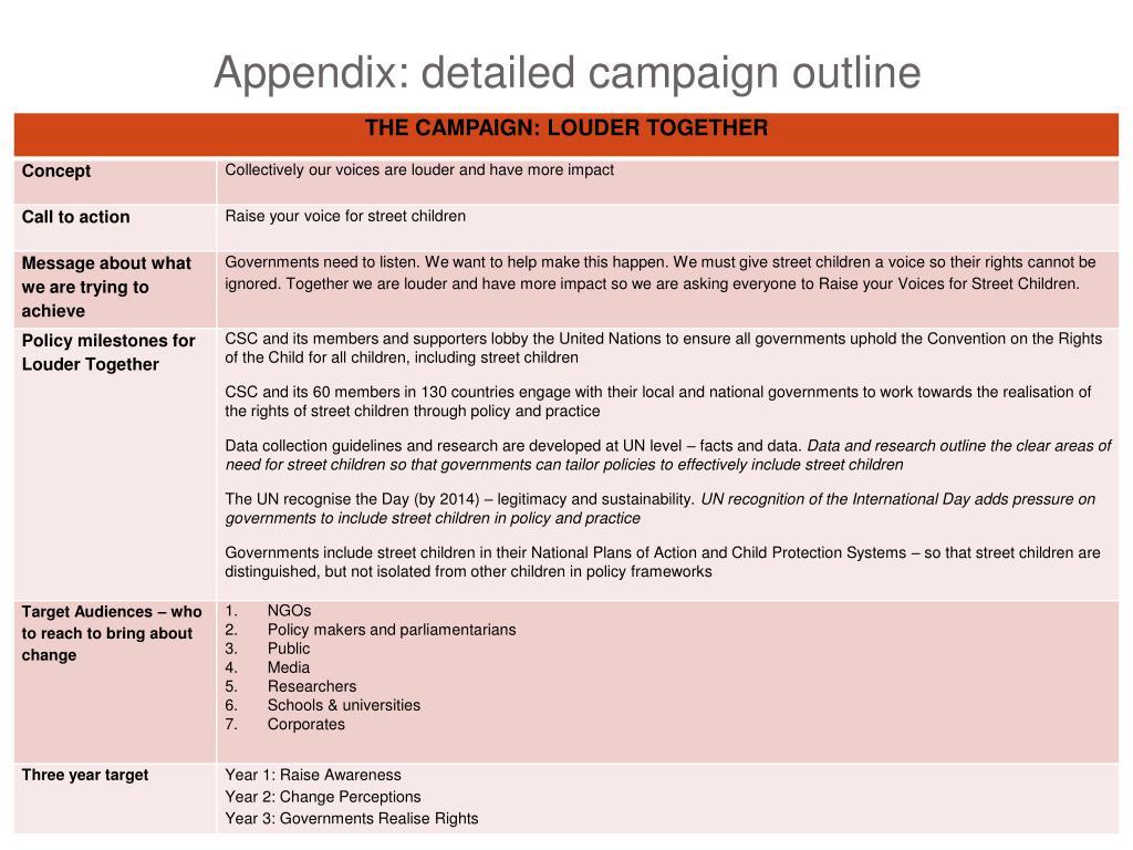 Appendix: detailed campaign outline