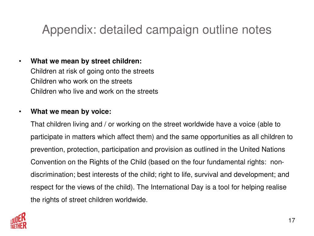Appendix: detailed campaign outline notes