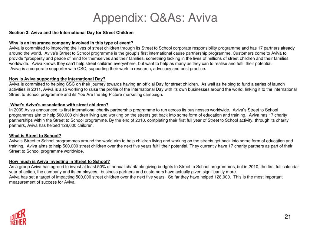 Appendix: Q&As: Aviva