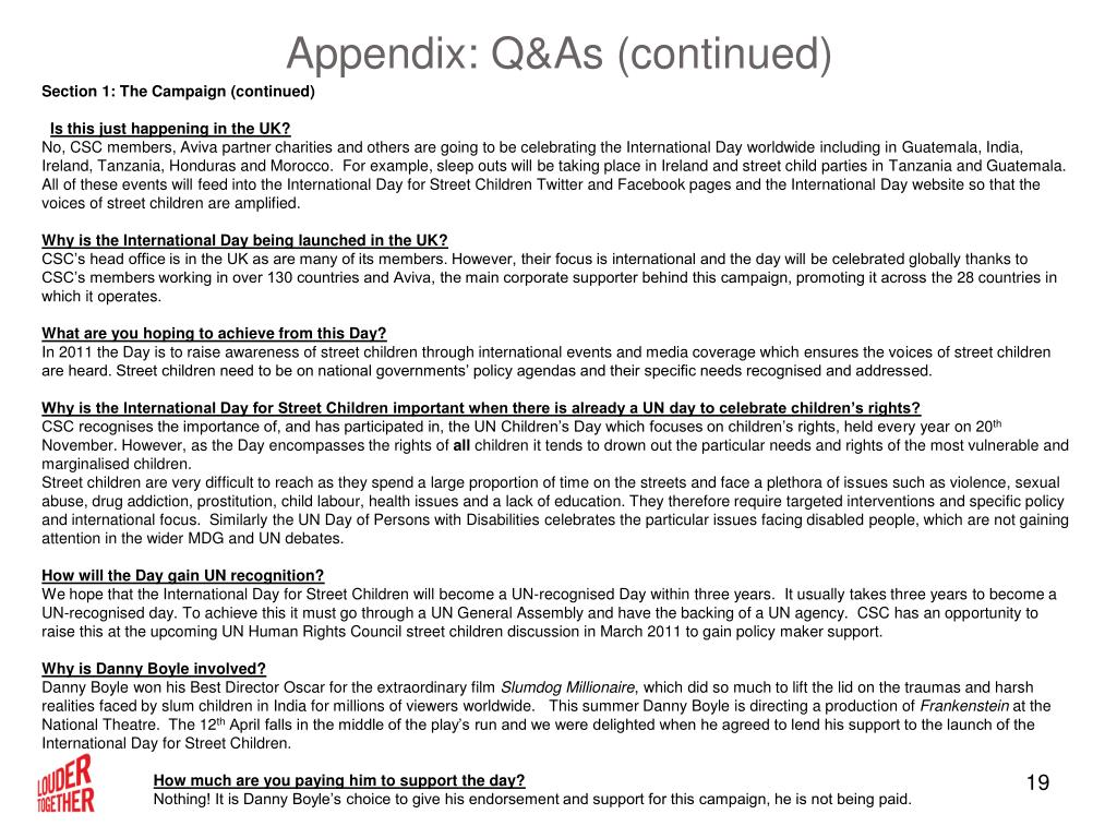 Appendix: Q&As (continued)