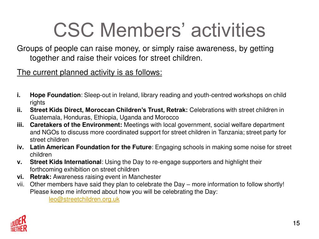 CSC Members' activities