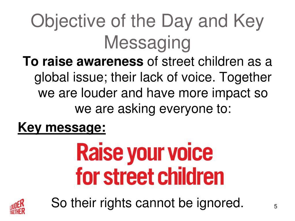 Objective of the Day and Key Messaging