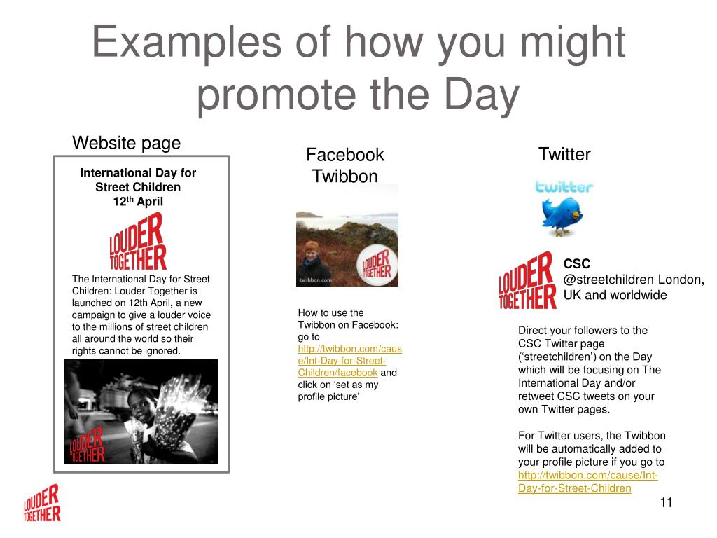 Examples of how you might promote the Day
