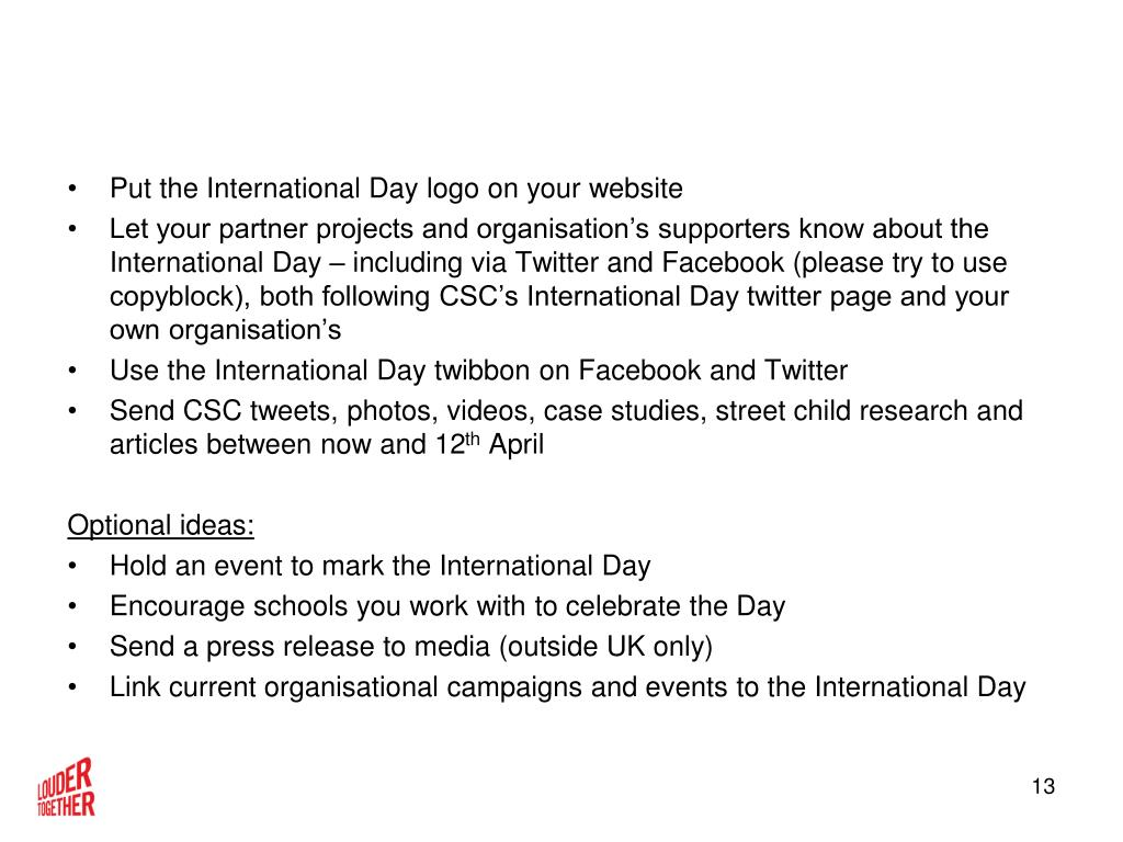 Put the International Day logo on your website
