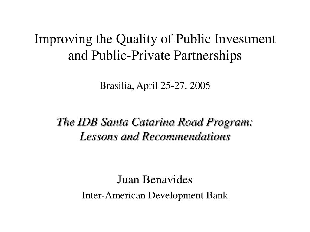 improving the quality of public investment and public private partnerships l.