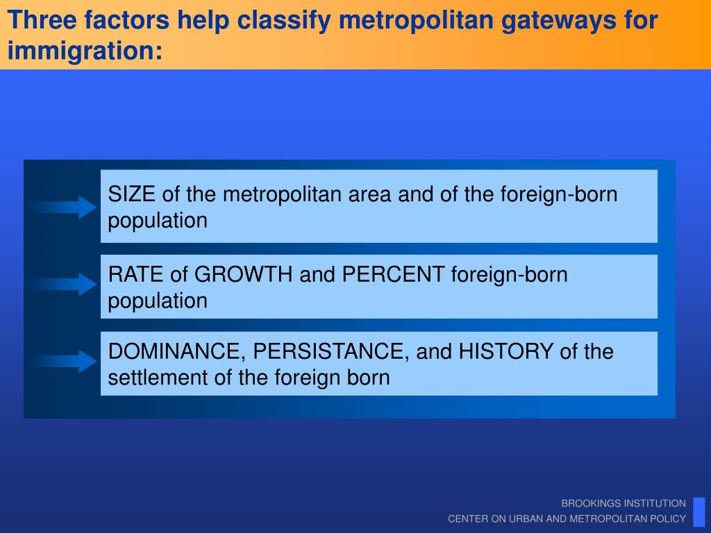 Three factors help classify metropolitan gateways for immigration: